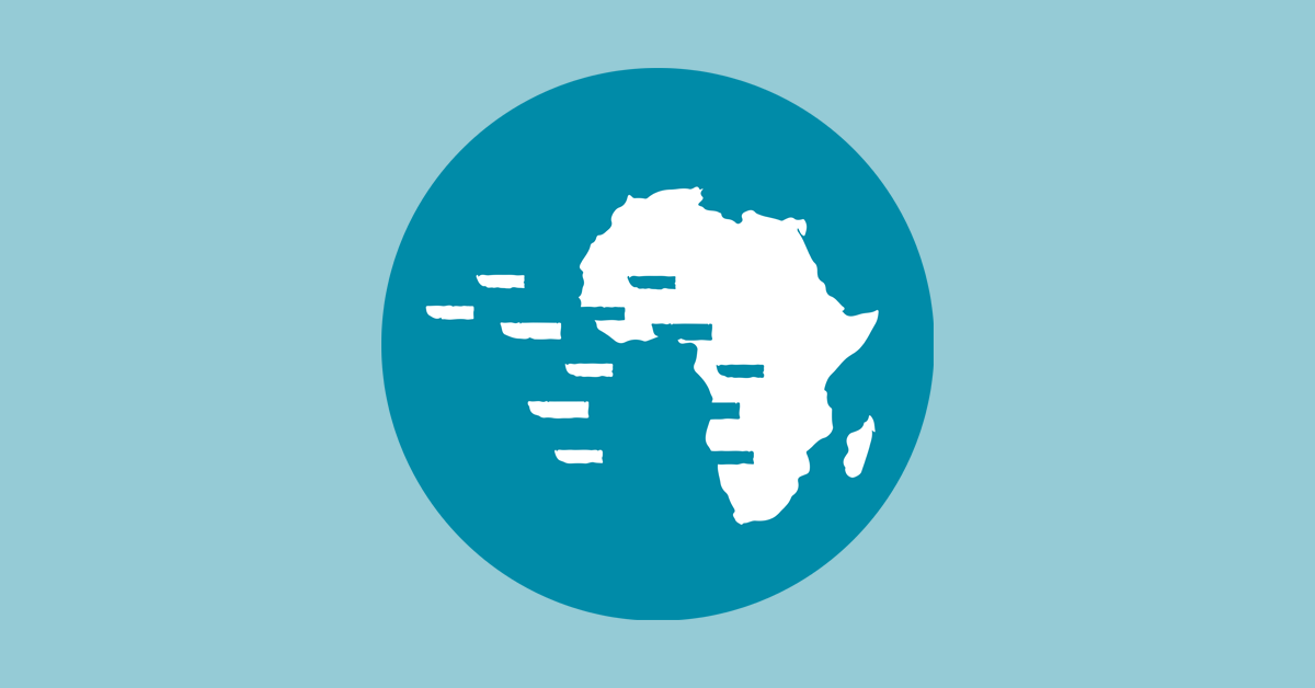 SlaveVoyages logo featuring image representing the African continent with ships sailing off to the West, leaving behind gaps in the outline of Africa