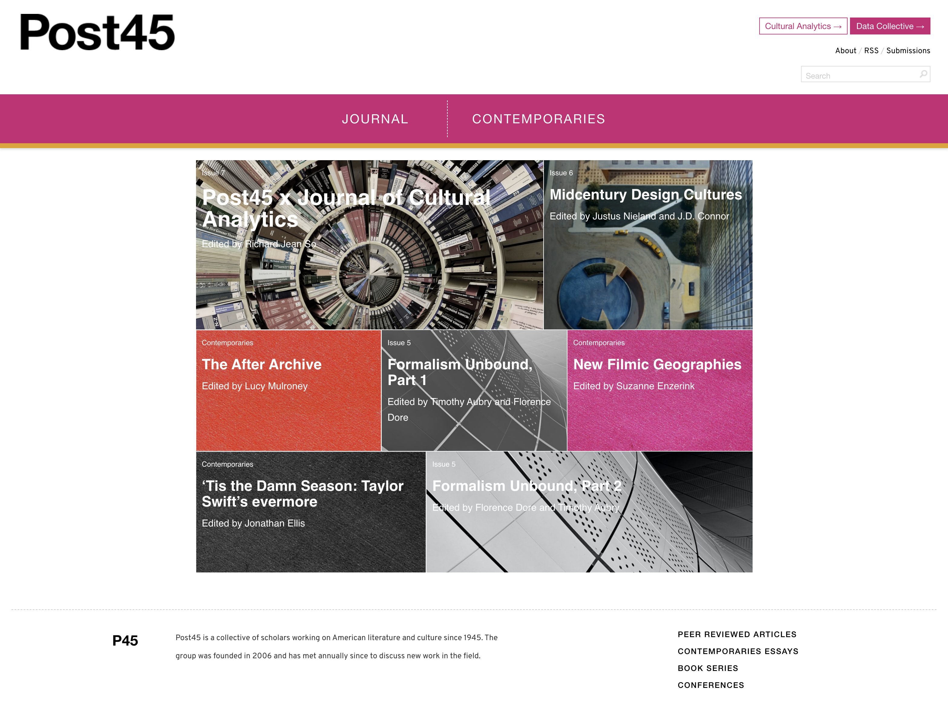 Webpage featuring Post45 journal title at top in thick black font, dark pink section header, and image blocks for journal issues.