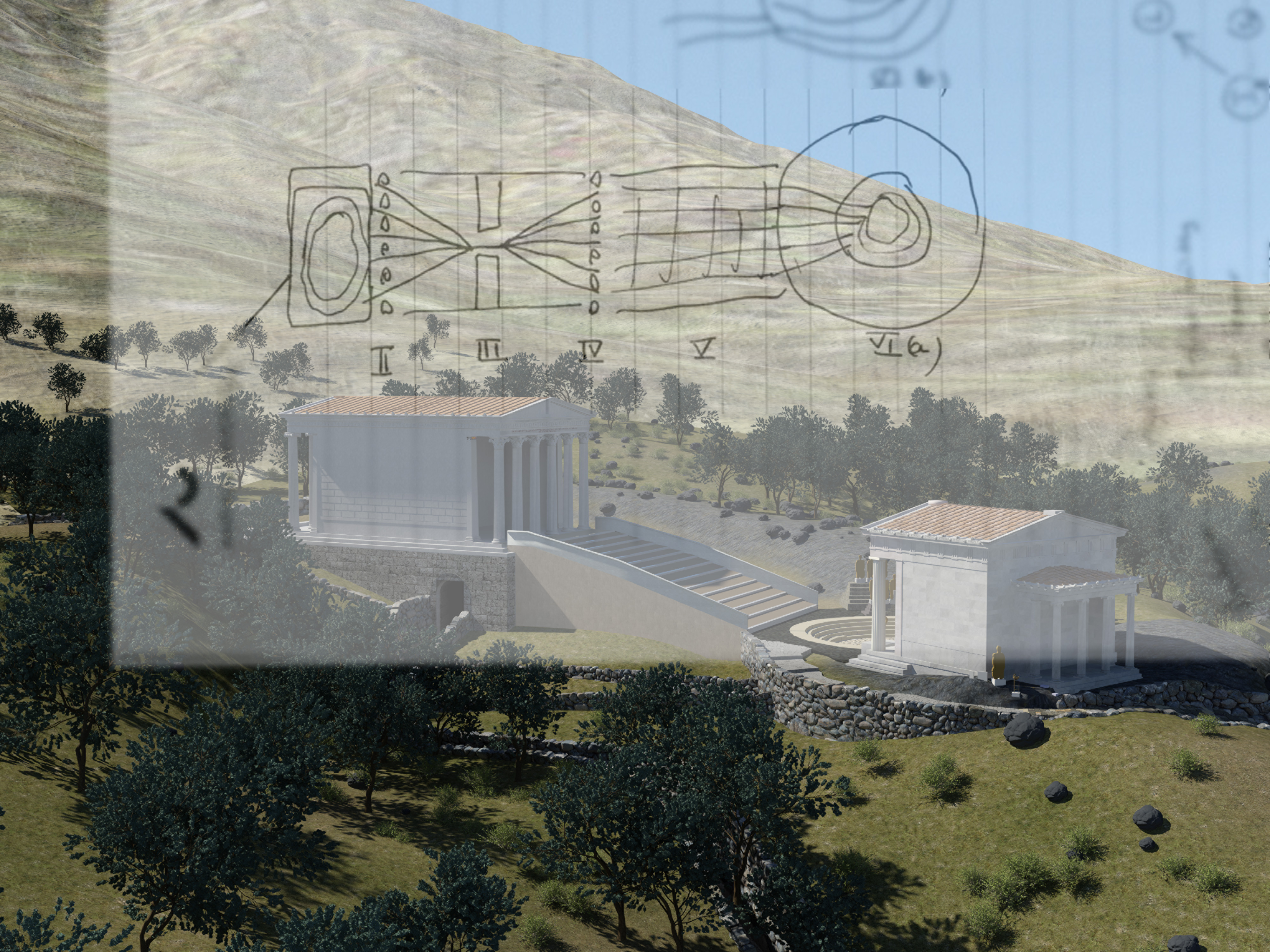 3D visualization of Samothrace with superimposed hand drawn image depicting apart of the ABM simulation strategy