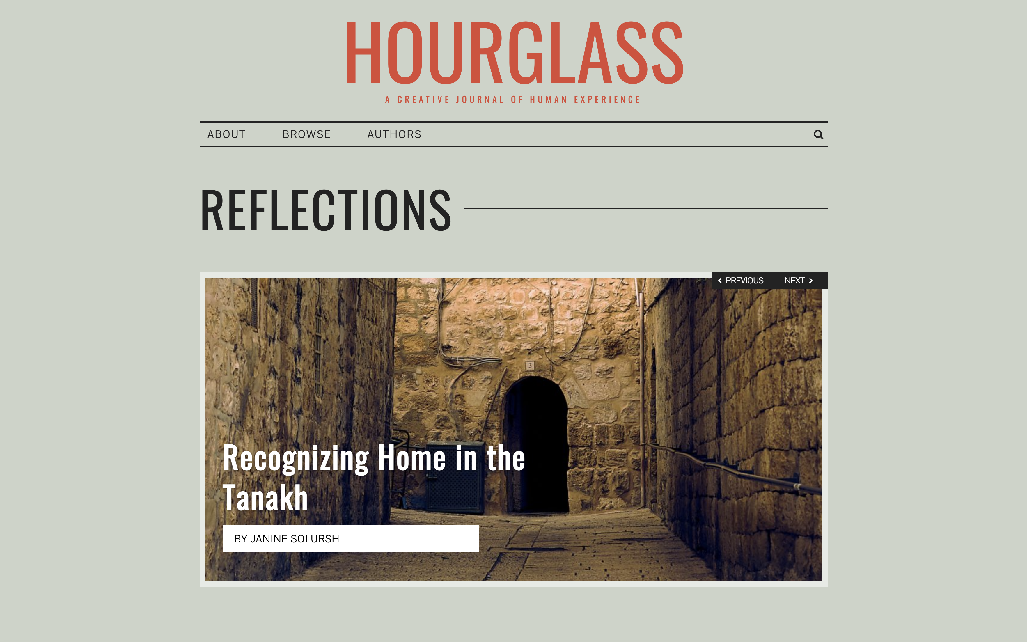 """Screenshot of Hourglass Journal website featuring image with article title """"Recognizing Home in the Tanakh"""""""