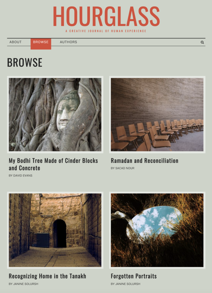 Screenshot of Hourglass journal's browse page with four articles accompanied by horizontal stock images