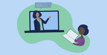 Image rendering depicting online teaching, featuring a laptop screen with a teacher and speech bubble on the left and a student reading a book on the right.