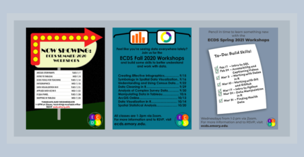 Banner featuring three flyers for the Summer 2020, Fall 2020, and Spring 2021 Workshops series respectively