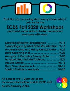 ECDS Fall 2020 workshop flier with schedule
