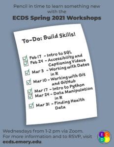 ECDS Spring 2021 workshop flier with schedule