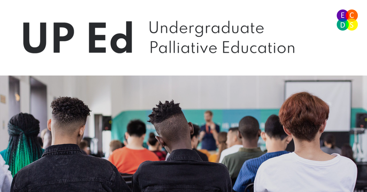 UP Ed (Undergraduate Palliative Education). Image: photo of students shown from behind, featuring three heads in the foreground, all with short hair.