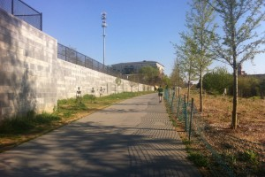 The trail isn't particularly pretty at first--it's surrounded by industrial walls and construction.