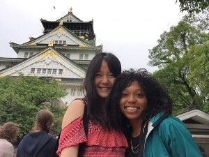 Charlotte, left, at Osaka Castle Credit: Cheng