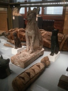 Cat mummies and Bastet statues at the Kunsthistorisches Museum in Vienna.
