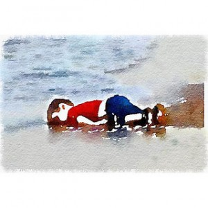 Water color version of the now famous photo taken of Aylan Kurdi's body. Soruce: https://www.flickr.com/photos/robertsharp59/20635914503