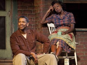 Viola Davis and Denzel Washington in their roles as Rose Maxson and Troy Maxson, respectively, in the 2016 film Fences