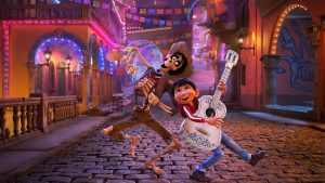 Miguel and Hector duet in a scene from Coco