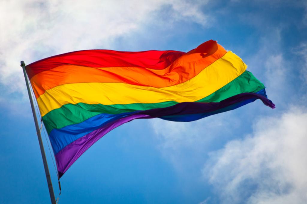 The rainbow flag being flown.