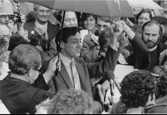Image of Harvey Milk being sworn into office. The Harvey Milk Foundation. (1977). Milk Sworn In. [Photograph]. Retrieved from. http://milkfoundation.org.