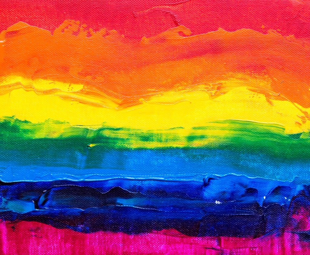 A painting of the rainbow flag.