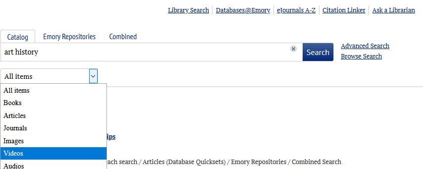 simple search material type drop-down menu