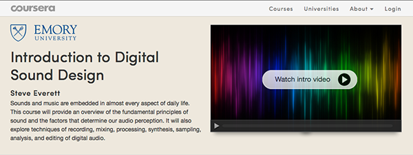 """Introduction to Digital Sound Design"" webpage at Coursera"