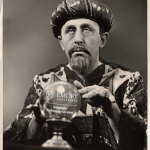 Vintage photo of man with crystal ball