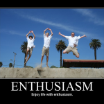 "Photo of three people jumping with ""enthusiasm"""