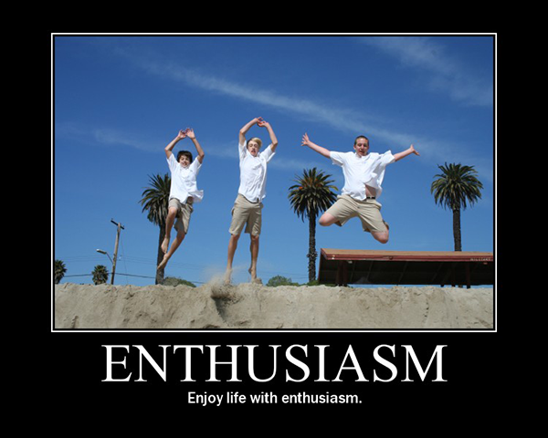 """Photo of three people jumping with """"enthusiasm"""""""