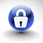 Illustration of a padlock on a blue globe