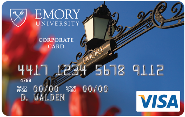 Close-up view of Emory's new Visa corporate credit card