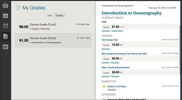 """Screen shot of Blackboard's """"My Grades"""" page"""
