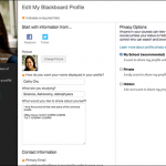 Screen shot of Blackboard's new profile page