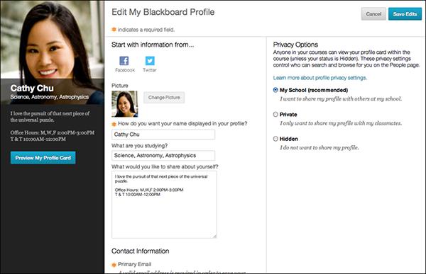 Screen shot of Blackboard's new profile page