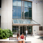 Photo of students in front of the Woodruff Library