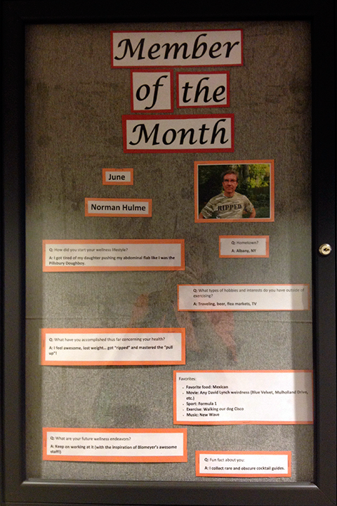 Photo of a bulletin board in the Bloymeyer Health Fitness Center