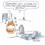 Cartoon of an employer during a performance review