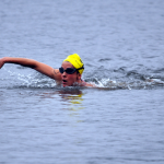 Photo of a woman swimming.