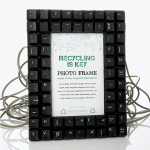 Photo of a photo-frame made from a recycled keyboard