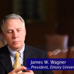 Photo of Emory's President Wagner taken from a promotional video