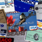 Photo collage of a pile of credit cards
