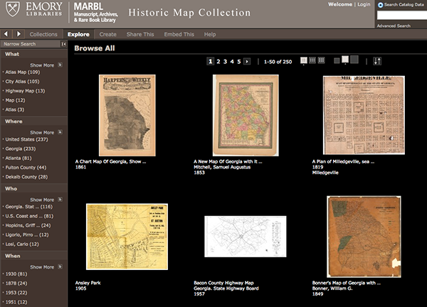 Screen shot of Emory's MARBL collection of maps