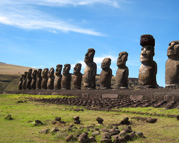 Photo of large statues on Easter Island
