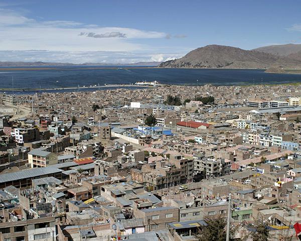 Photo of Lake Titicaca from Puno, Peru