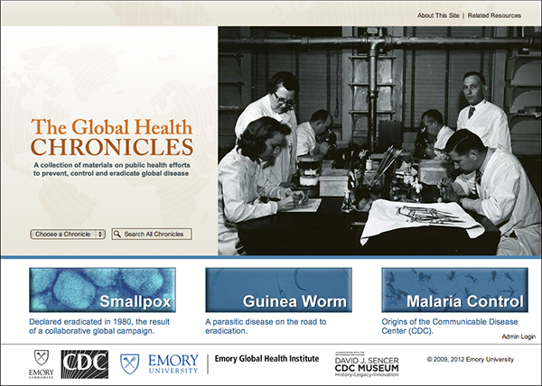 Home page for Global Health Chronicles website