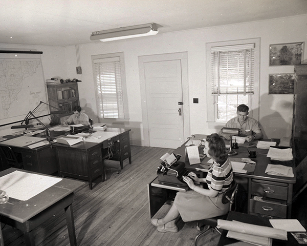 1945 view inside the offices at the Emory University Field Station