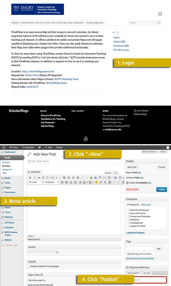 Screen shots from WordPress blog