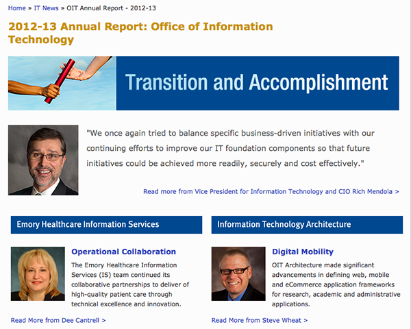 Screen shot of annual report home page