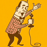 Illustration of man with a microphone