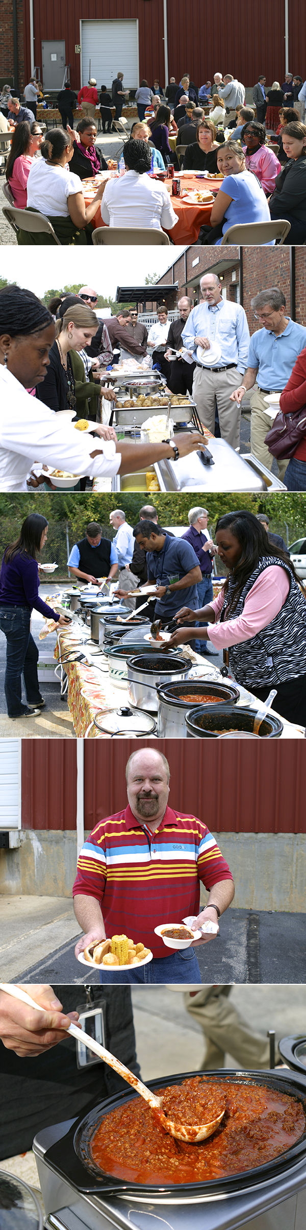 group of 5 photos from an outdoor employee chili luncheon