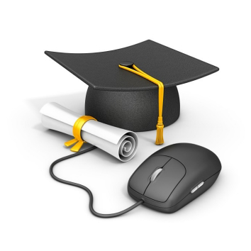Illustration of a diploma and a computer mouse