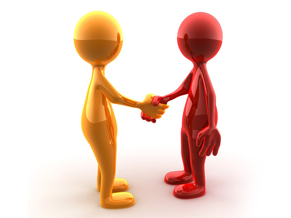 Clip art photo of two figures shaking hands