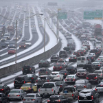 Photo of a traffic jam in Atlanta during a snow storm