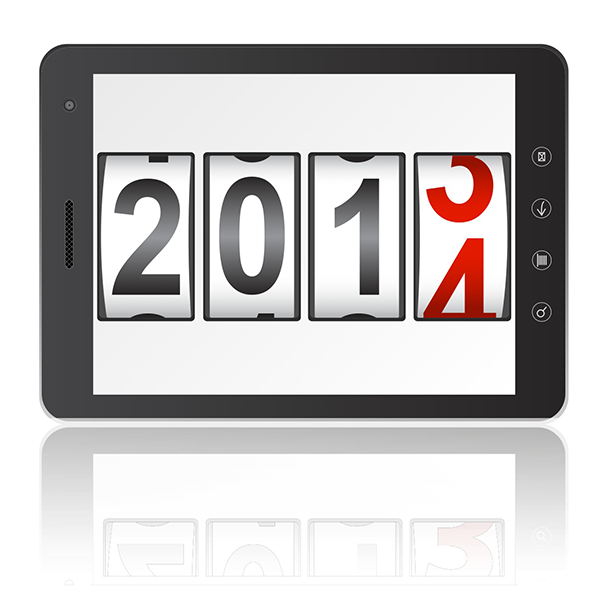 "Illustration of an iPad with ""2014"""