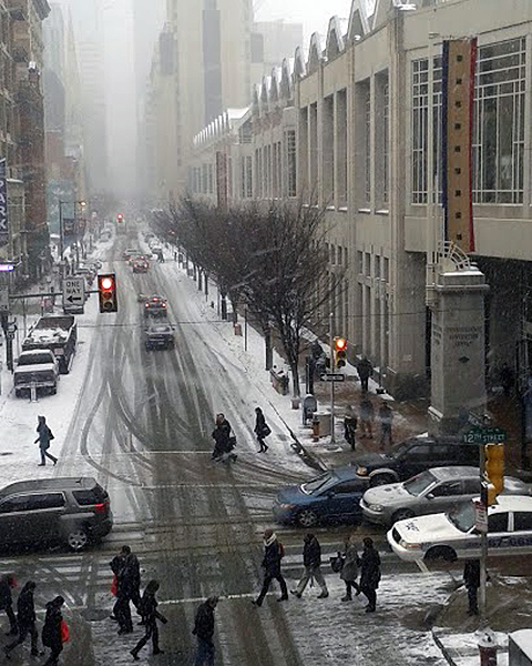 Photo of center city Philadelphia in a snow storm